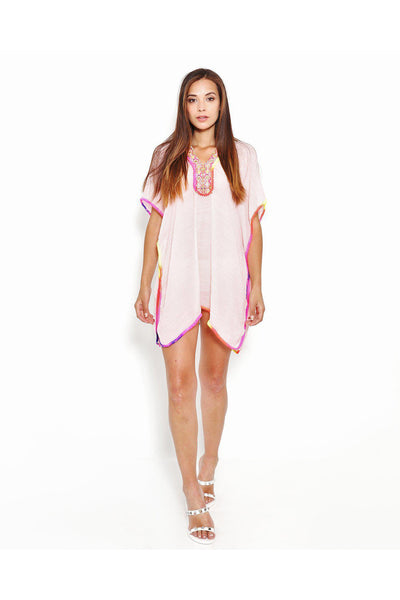 Rainbow Trim Pink Cotton Caftan-SinglePrice