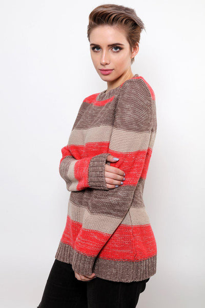 Grey & Pink Stripes Knitted Jumper-SinglePrice