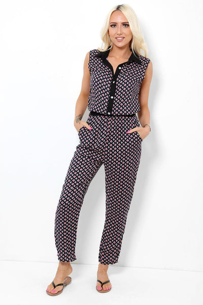 Crystal Buttons Black And Red Jumpsuit-SinglePrice