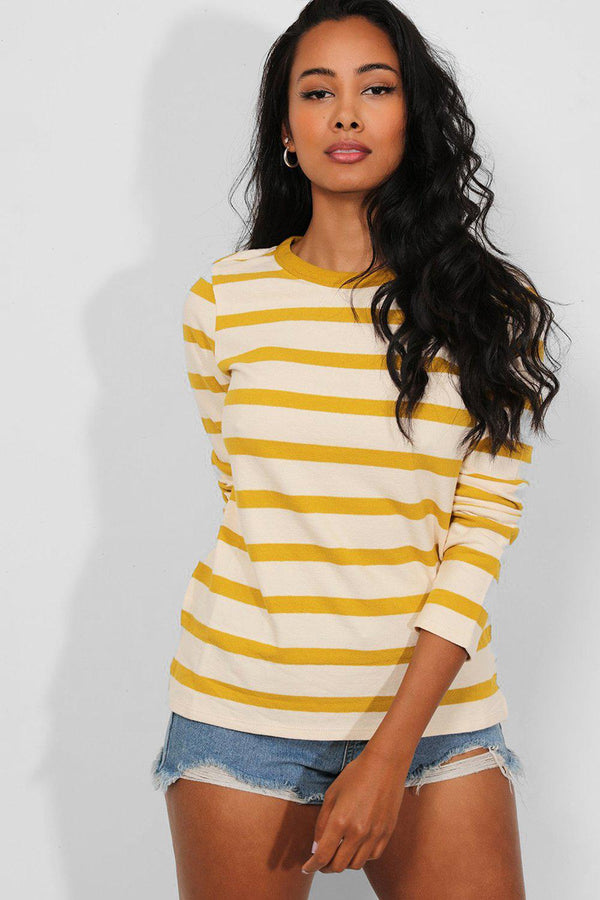 Yellow Stripe Flat Knit Pullover-SinglePrice