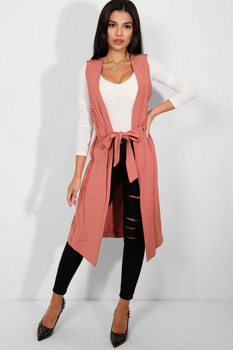 Faded Pink Waist Tie Shoulder Tab Sleeveless Long Waistcoat - SinglePrice