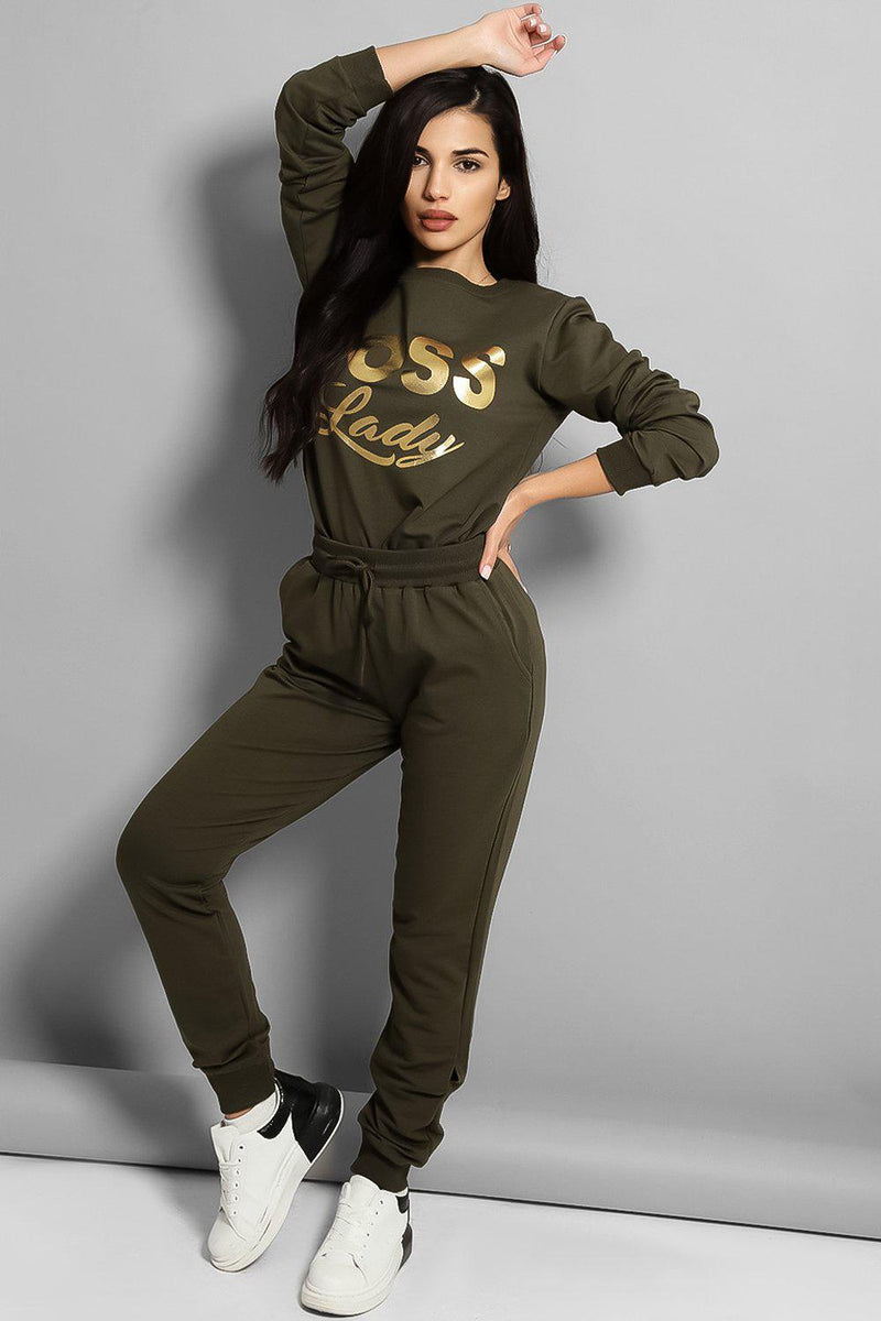 Boss Lady Khaki Cotton Blend Tracksuit - SinglePrice