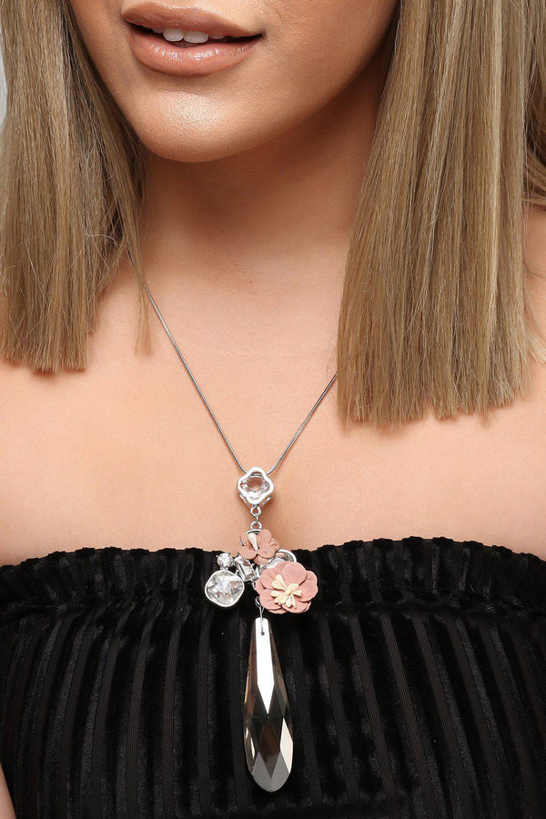 Large Crystal Drop Pink Flower Necklace-SinglePrice