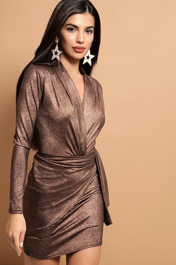 Bronze Wrap Front Drape Detail Mini Dress