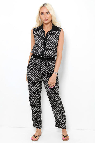Crystal Buttons Black And White Jumpsuit-SinglePrice