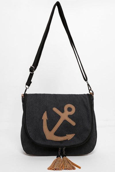 Tassel & Zip Anchor Flap Black Canvas Bag-SinglePrice