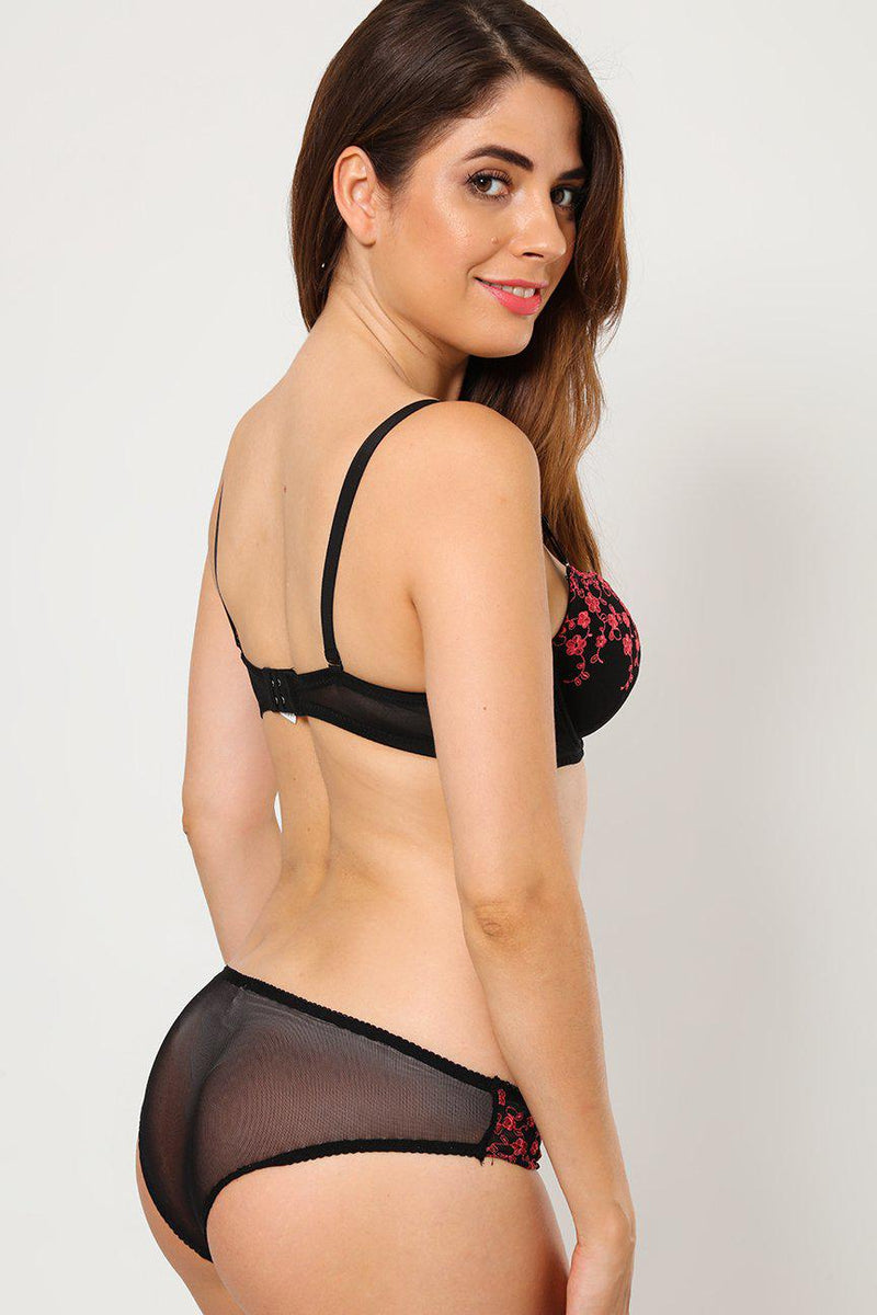 Embroidered Black Bra And Brief Set - SinglePrice