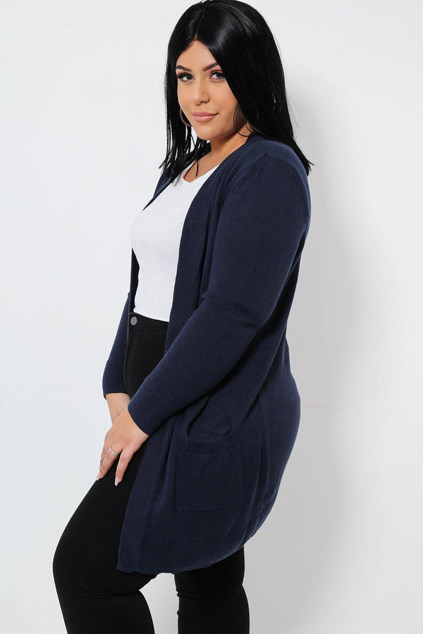 Open Front Mid-Length Navy Cardigan-SinglePrice