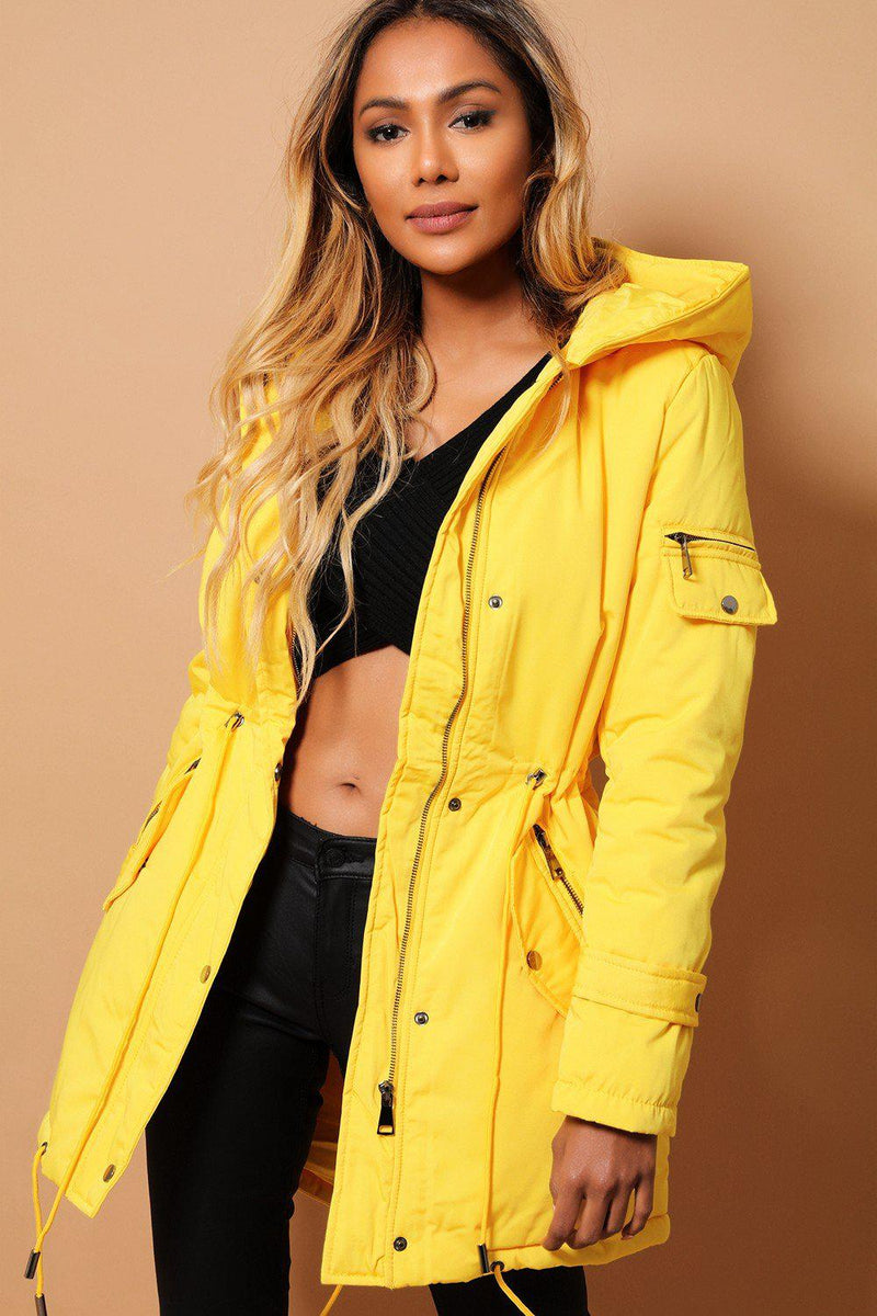 Bright Yellow Padded Drawstring Waist Jacket - SinglePrice