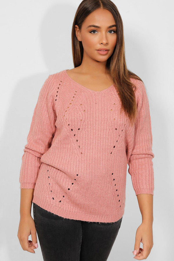 Pink Perforated Chunky Knit Pullover - SinglePrice