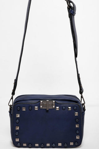 Studded Front Small Navy Side Bag