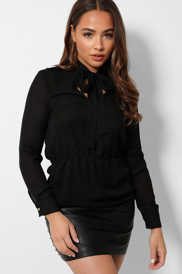 Black Frill Shoulder Details Pussybow Chiffon Blouse - SinglePrice