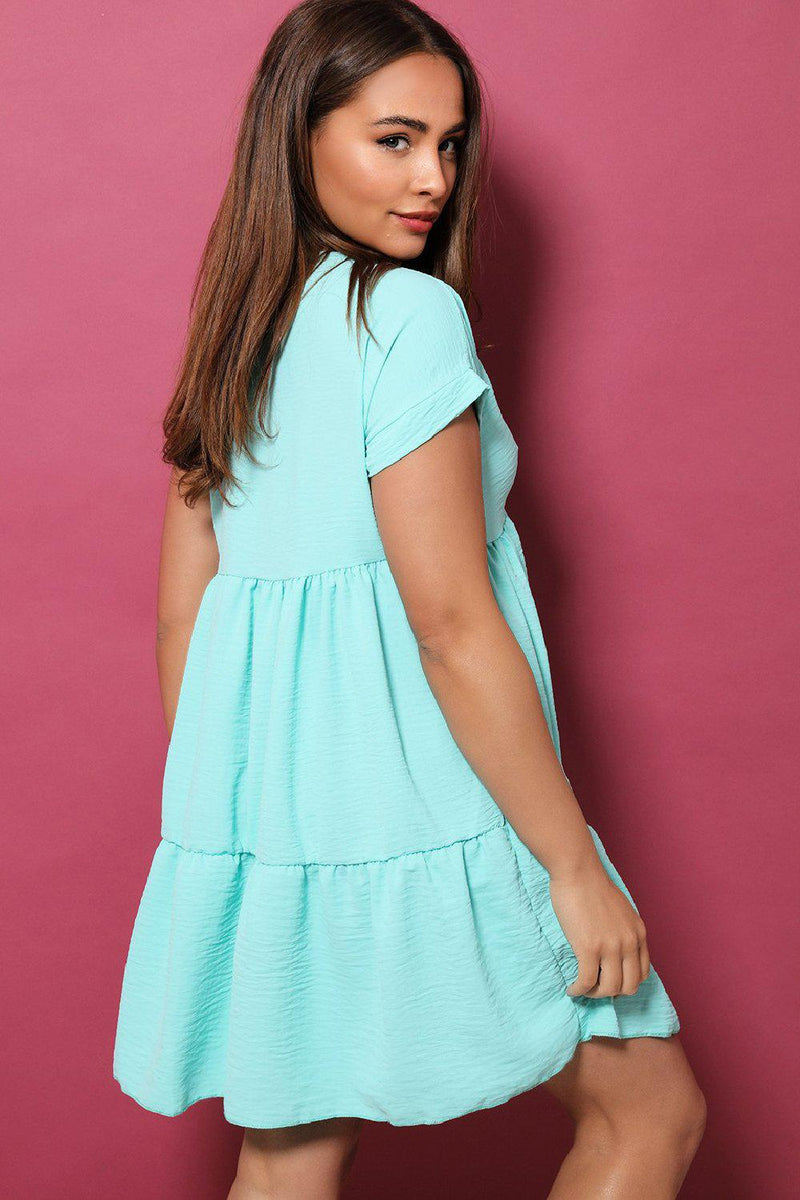 Blue V-Neck Tiered Babydoll Dress - SinglePrice