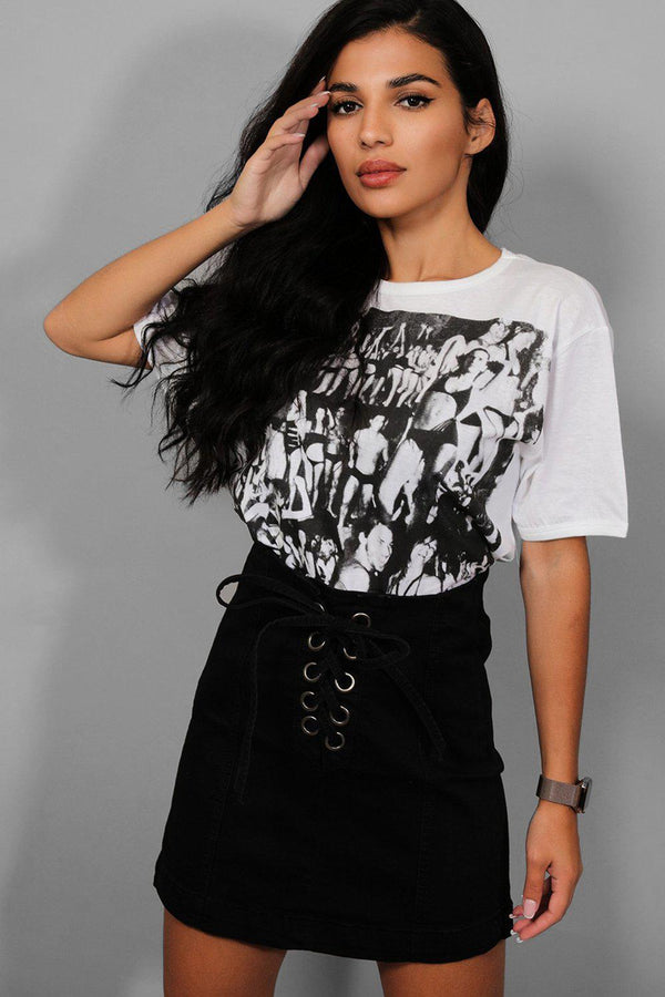 Black Lace-Up Front Mini Denim Skirt - SinglePrice