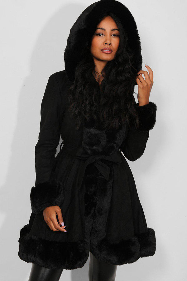Black Faux Fur Hoodie And Trims Faux Suede Longline Jacket - SinglePrice
