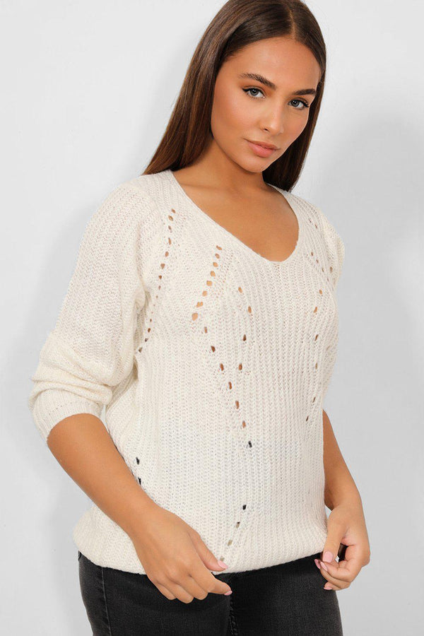 Cream Perforated Chunky Knit Pullover - SinglePrice