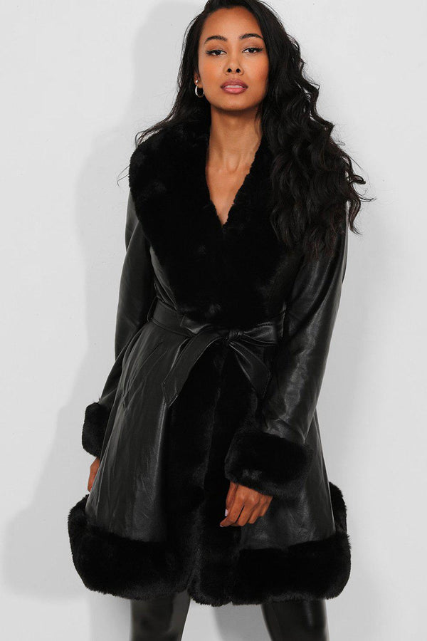 Black Faux Fur Trims Vegan Leather Longline Jacket - SinglePrice