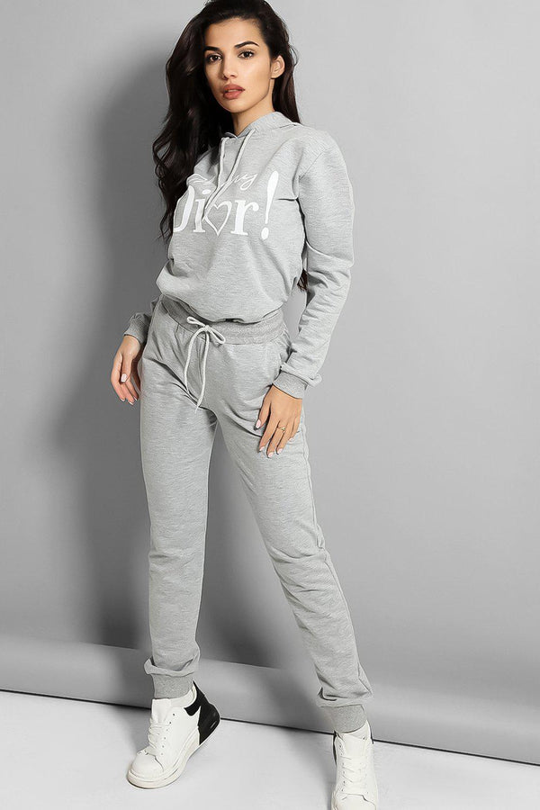 Grey OMD Slogan Cotton Blend Tracksuit - SinglePrice