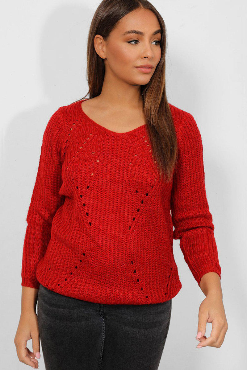 Red Perforated Chunky Knit Pullover - SinglePrice