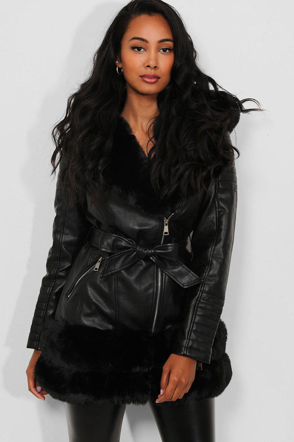 Black Faux Fur Trims Longline Biker Jacket - SinglePrice