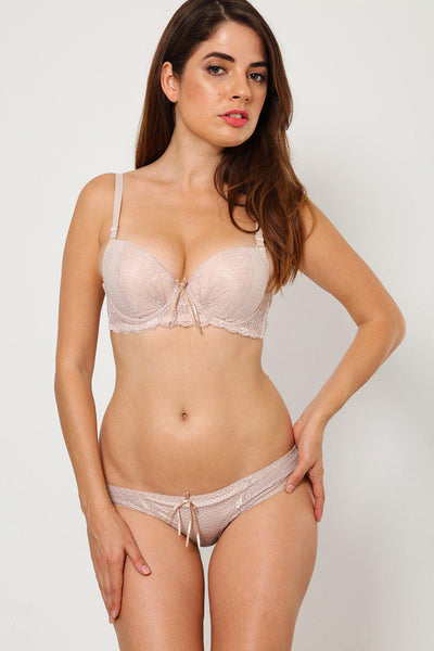 Beige Lace-Over Bra And Brief Set-SinglePrice