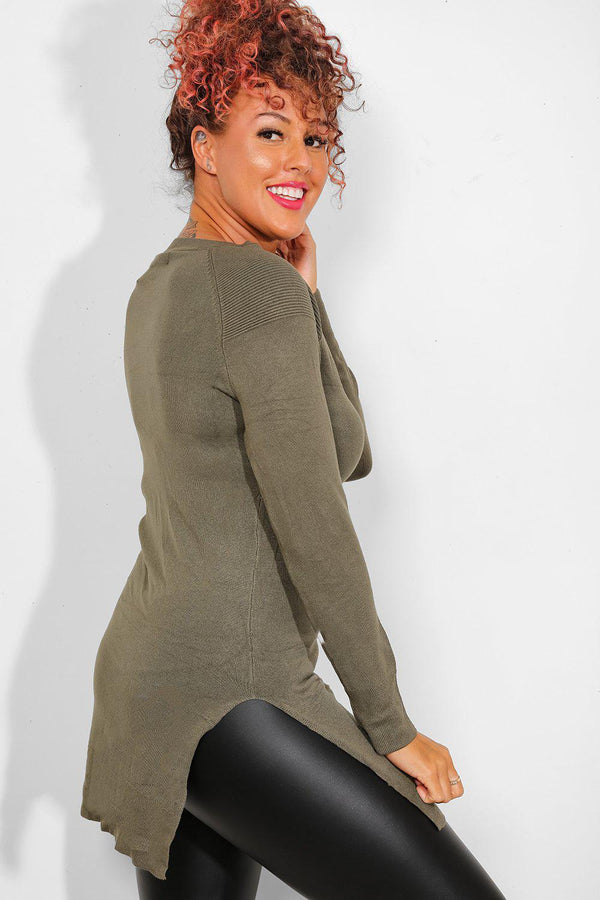 Khaki Ribbed Details Knitted Tunic-SinglePrice