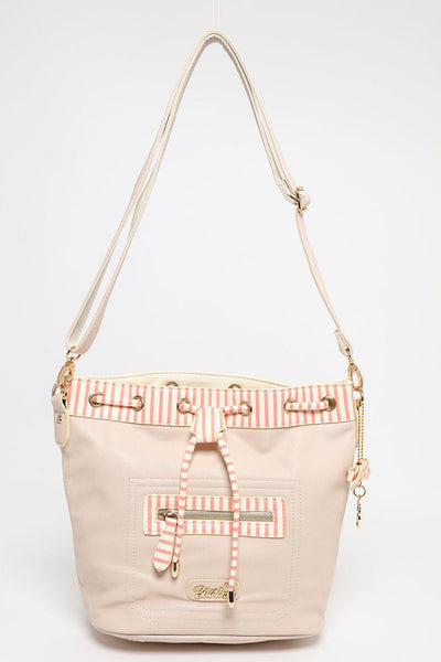 Red & White Stripes Trim Cream Bucket Bag-SinglePrice