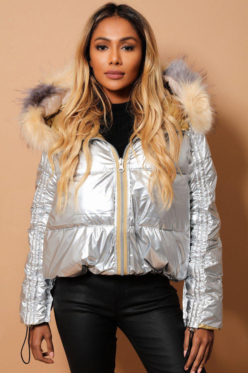 Metallic Gold Silver Detachable Faux Fur Hood Reversible Puffer Jacket - SinglePrice