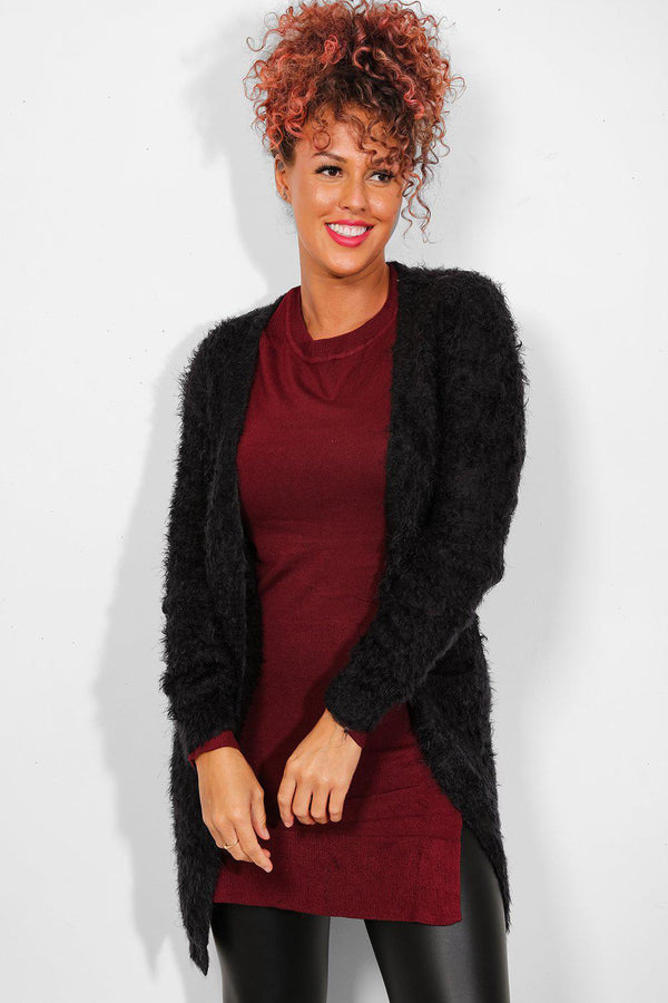 Black Open Front Fluffy Knit Cardigan-SinglePrice