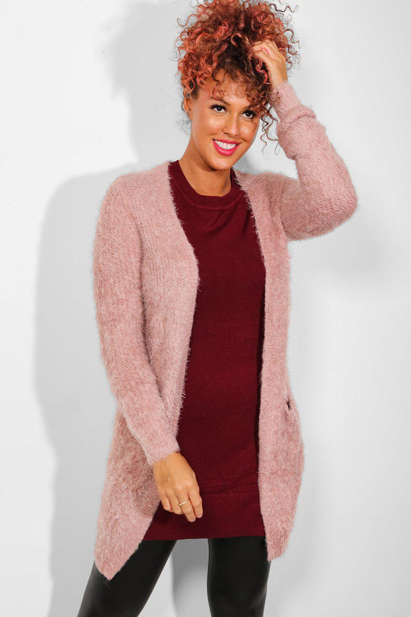 Pink Open Front Fluffy Knit Cardigan-SinglePrice