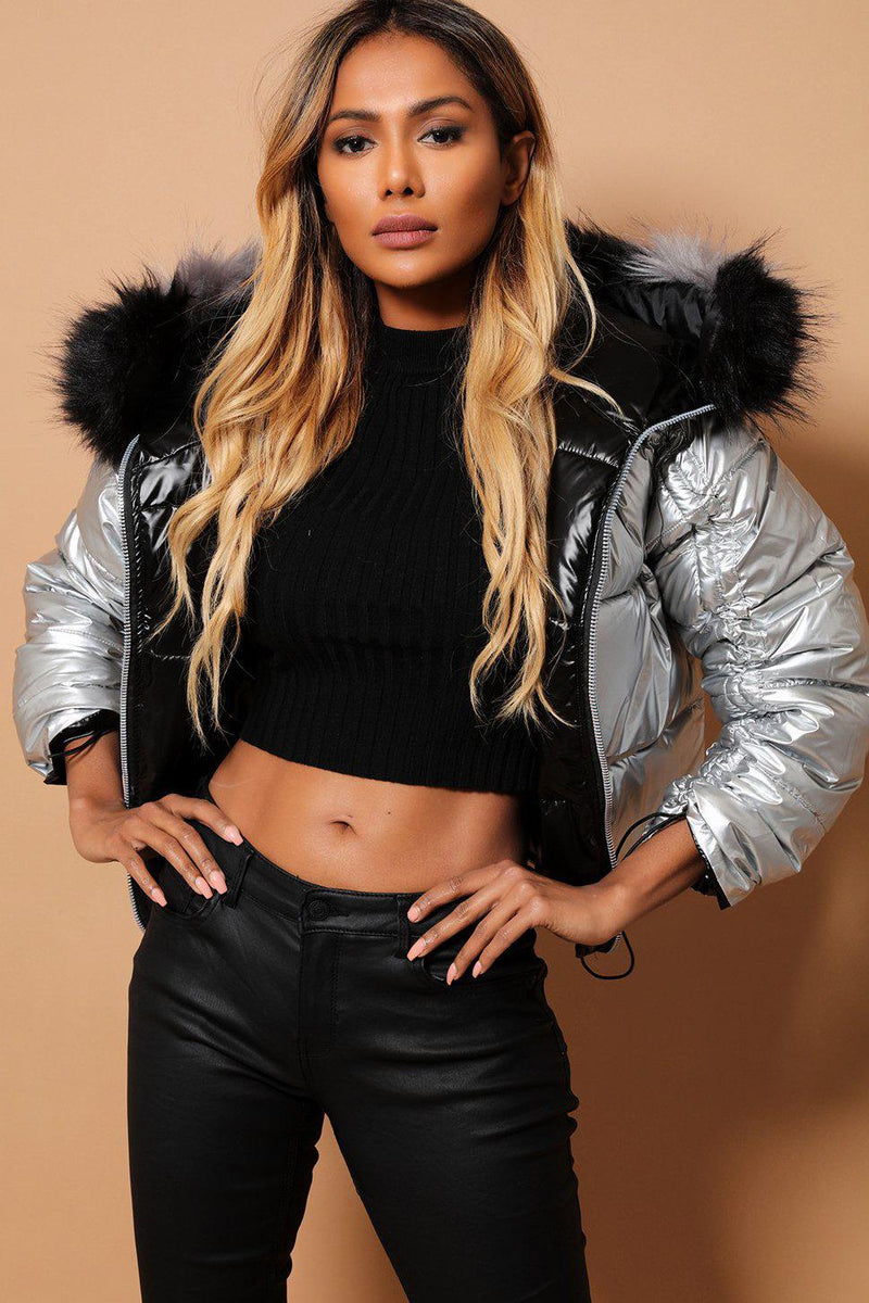 Metallic Black Silver Detachable Faux Fur Hood Reversible Puffer Jacket - SinglePrice