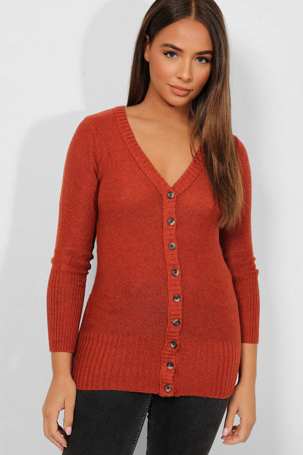 Brown Button Details V-Neck Pullover - SinglePrice