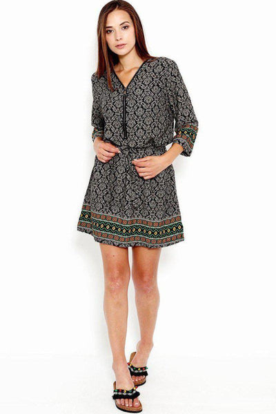 Baroque Print Zipper V-Neck Dress-SinglePrice