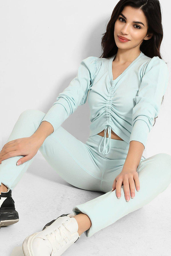 Aqua Ribbed Knit Drawstring Top And Leggings Set - SinglePrice