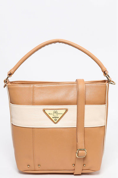 Panelled Design Brown Bucket Bag-SinglePrice