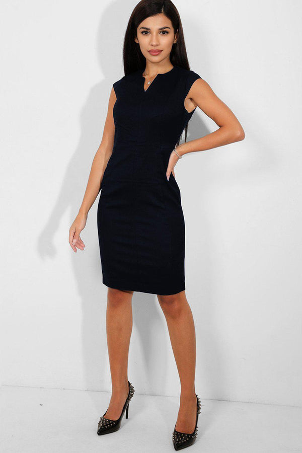 Navy V-Neck Textured Midi Office Dress - SinglePrice