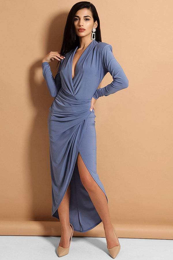 Blue Wrap Front Slinky Maxi Dress