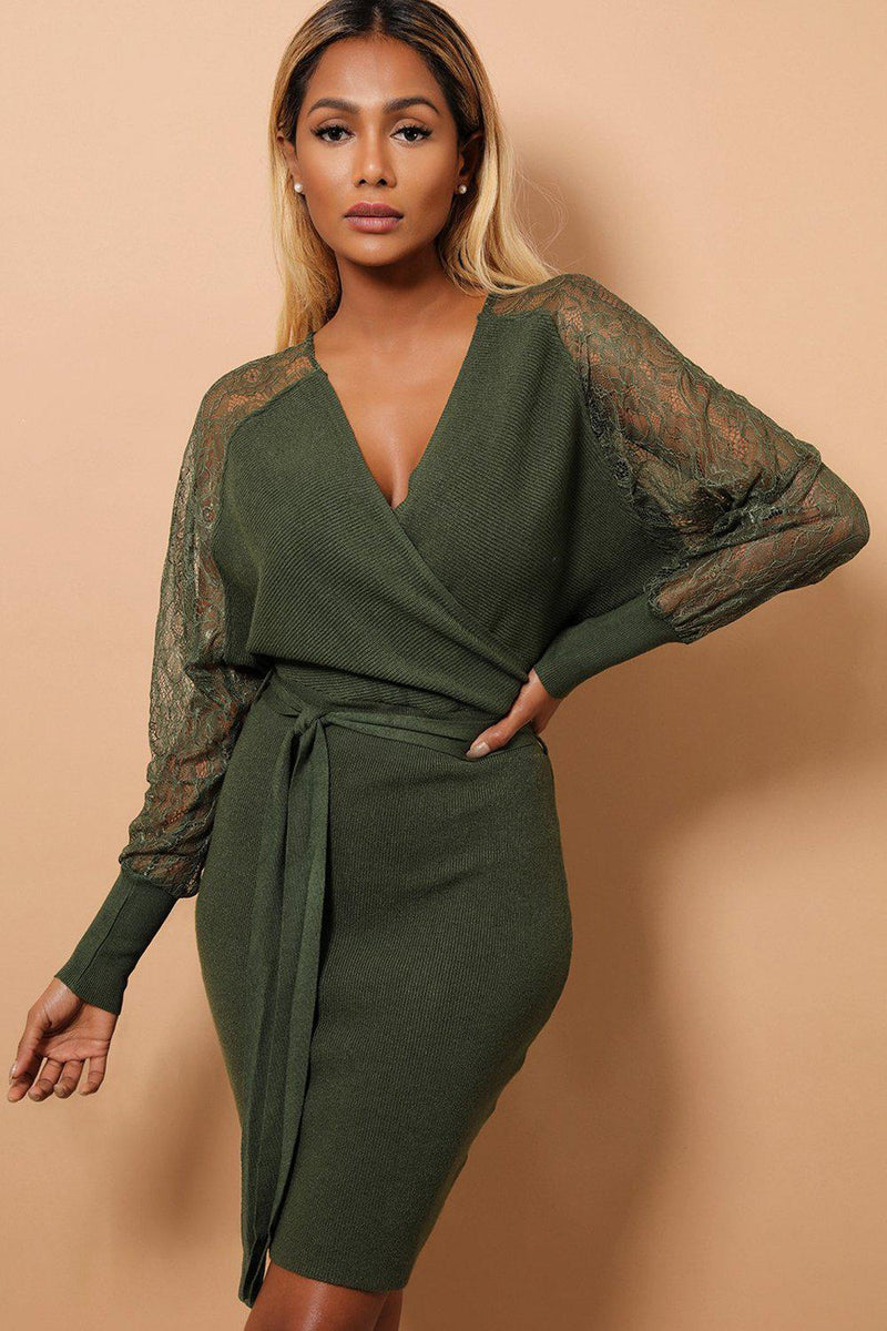 Green Wrap V-Neck Lace Sleeves Ribbed Knit Dress - SinglePrice