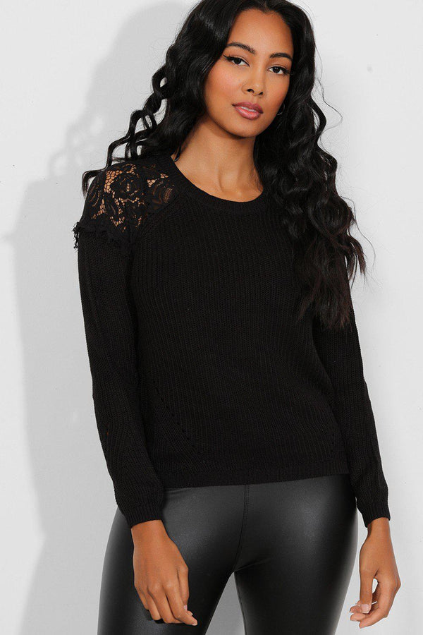 Black Lace Shoulders Flat Knit Pullover - SinglePrice
