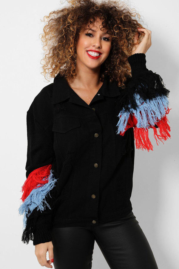 Multicolour Fringe Embellished Back Black Distressed Denim Jacket - SinglePrice