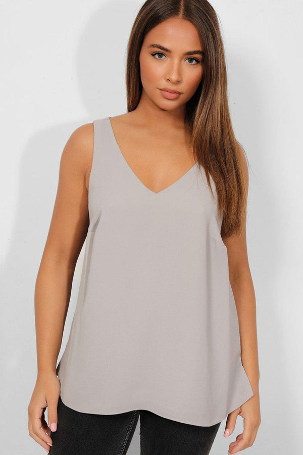 Grey V-Neck And Back Classic Top - SinglePrice