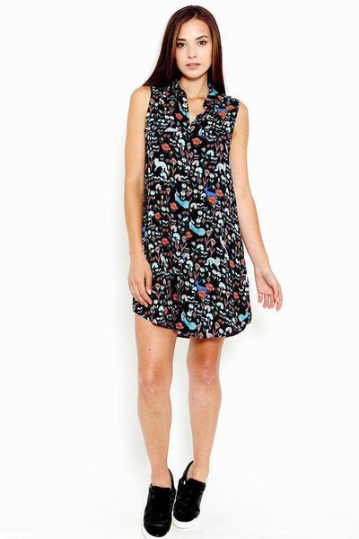 Forest Print Zipper V-Neck Dress-SinglePrice