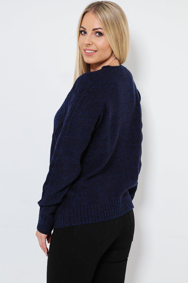 Thick Knit Pocketed Navy Cardigan - SinglePrice