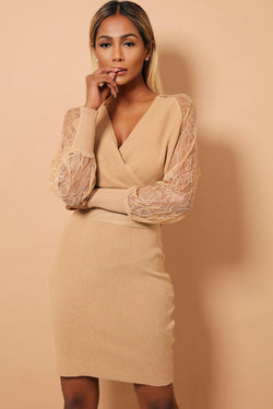 Camel Wrap V-Neck Lace Sleeves Ribbed Knit Dress - SinglePrice