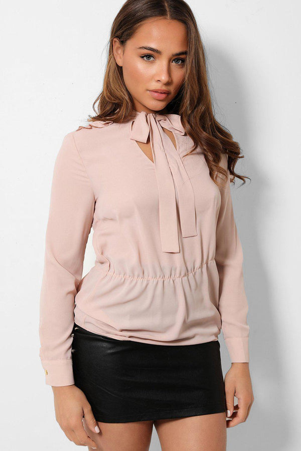 Nude Frill Shoulder Details Pussybow Chiffon Blouse - SinglePrice
