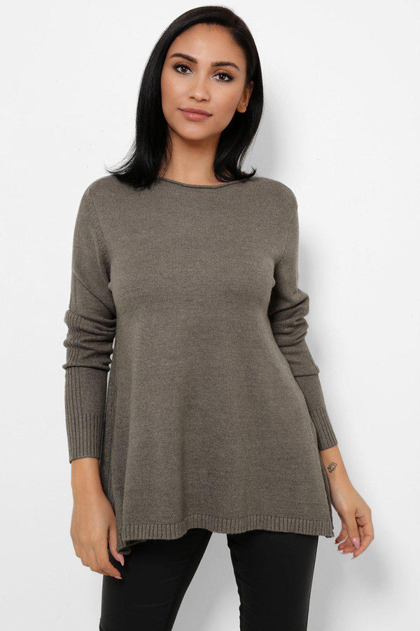 Khaki Ribbed Side Slit Knitted Top-SinglePrice