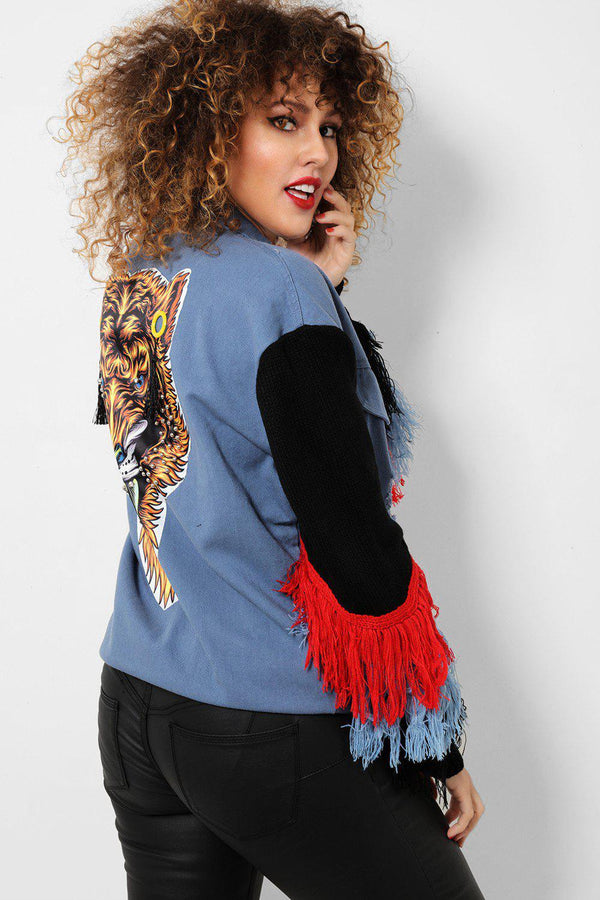Multicolour Fringe Embellished Back Blue Distressed Denim Jacket - SinglePrice