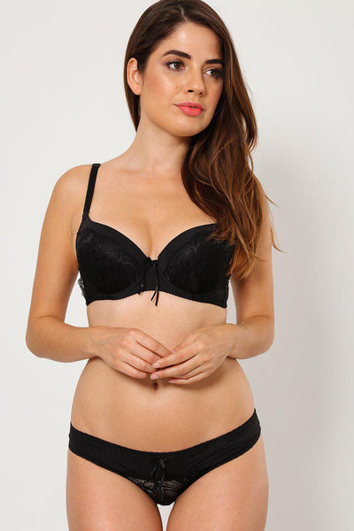 Black Lace-Over Bra And Brief Set-SinglePrice
