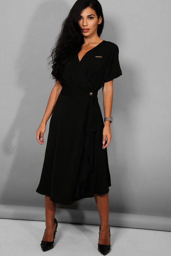 Black Logo Detail Wrap Midi Dress - SinglePrice