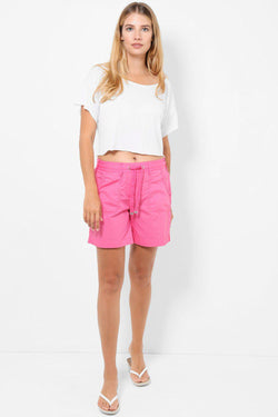 Pink Elastic Drawstring Waist Roll-Up Shorts - SinglePrice